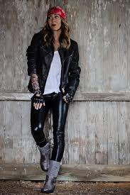leather jacket white t shirt leggings bandana nose ring tattoo sleeves fingerless gloves boots