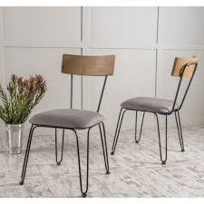 orval metal dining chair with fabric cushion set of 2 by regarding designs 9
