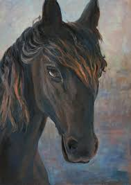 horse painting black horse by marco busoni