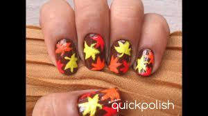 Easy Autumn Leaves (Maple Leaves) Nails - YouTube