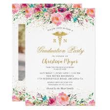 Nursing Graduation Party Invitations Beautiful Pink Floral Nurse Photo Graduation Party Invitation