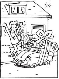 Kleurplaat Vaderdag Papa Krijgt Auto Kleurplatennl