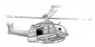 Kleurplaat Militaire Helikopter Stockfoto Illustratorhft