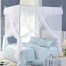 Amazon.com: NATURETY Nattey White 4 Corners Lace Bedding Curtain ...