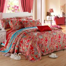 queen paisley comforter sets red party bohemian style fashion and pertaining to duvet idea 10