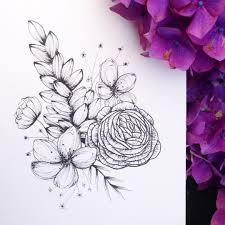 оригинальный универсальный эскиз тату цветы 415