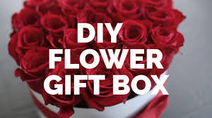 diy gift box with flowers roses
