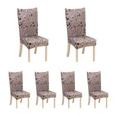 auoker 6 x soulfeel soft spandex fit stretch short dining room chair covers with printed pattern