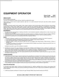 Heavy Equipment Operator Resume Experience Template Helendearest