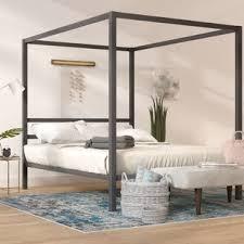 King Chrome Canopy Bed | Wayfair