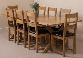 Oak Dining Table And 8 Leather Chairs