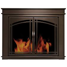 pleasant hearth fenwick oil rubbed bronze small cabinet style fireplace doors with smoke tempered