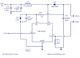 led driver based on mp3302 led driver ic working circuit diagram 3v led driver circuit