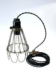 plug in industrial lighting hanging lamp with plug industrial cage wire hanging pendant light or desk