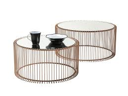 round glass and steel coffee table wire copper coffee table by kare design