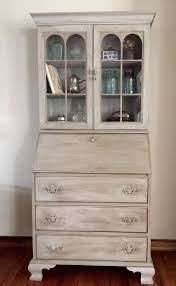 vintage antique secretary desk hutch refinished by theopenedco