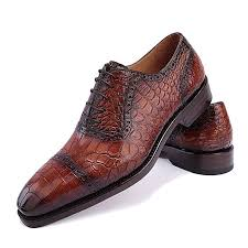 mens alligator leather cap toe lace up oxford classic modern business dress shoes brown