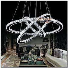 3 rings crystal led chandelier light fixture crystal light re hanging suspension light for dining room