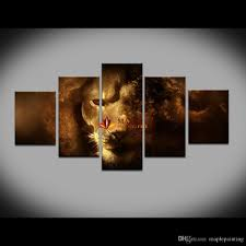Living Room Canvas Paintings 5 Panel Canvas Art Unstretched Lion Oil Painting On Canvas Wall