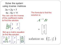 you can use the inverse of the coefficient matrix to find the solution