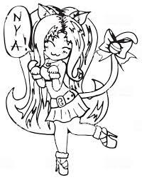 Monocromo Gatto Ragazza Anime Manga Kawaii Fumetto Vettoriale