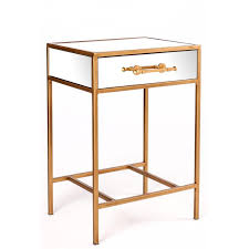 gold single drawer mirror nightstand