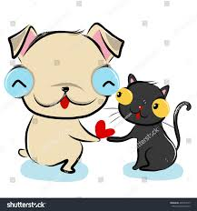 cats and dogs in love drawing. Delighful Cats Vector Illustration Of Cute Bulldoglovecat Cartoon Drawing Style And Cats Dogs In Love Drawing G