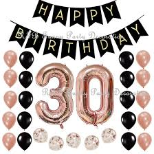 Black Happy Birthday Us 19 98 20 Off 30th 40th 50th 60th Birthday Party Decoration Supplies With Black Happy Birthday Banner 40inch Rose Gold Number Balloons In Party