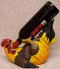 Decorative Wine Bottle Holders Wine Bottle Holder andor Decorative Sculpture Yellow Rooster NEW 6