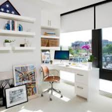 White airy home office Bedroom Bright And Airy Home Office With Builtin Desk Wp Mastery Club Photos Hgtv