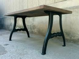 wrought iron table legs vintage industrial style oak dining table on cast iron legs wrought iron