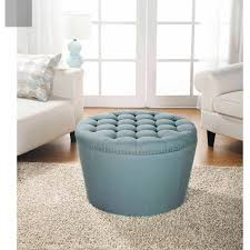 round brown leather ottoman furniture tufted coffee table blue large storage amazing tail with seats small square white upholstered tray