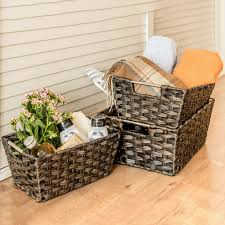 Amazon.com: Rattan Basket, MaidMAX Set of 3 Rectangular Wicker ...