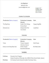 Free Actor Resume Template Enchanting Student Actor Resume Template Image Gallery Free Acting Resume