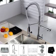 kraus 33 inch farmhouse double bowl stainless steel kitchen sink with kitchen faucet and soap dispenser