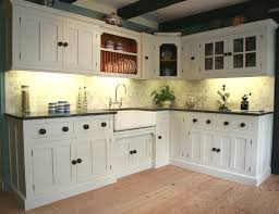 Captivating Design Ideas Of English Country Kitchen Cabinets With White  Wooden Color Cabinets And Black Wooden