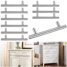 10 stainless steel kitchen cabinet door knob t bar cupboard drawer handle pulls