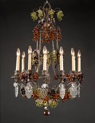 french belle epoque louis xv style patinated bronze chandelier in classic bird cage shape dd with bunches of colored crystal gs with crystal leaves