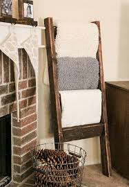reclaimed timber wood ladder towel rack for bathroom