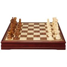 chess board vintage set wood carved pieces hand wooden box game folding xmas new
