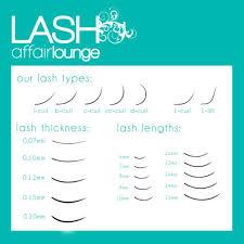 Fake Eyelash Size Chart Lash Curl Length Thickness Chart Silk Eyelash