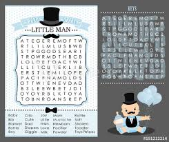 Little Man Party Game First Birthday Baby Shower Word Search