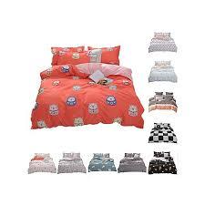 printed cotton 3 4pcs reversible duvet cover flat sheet pillowcases bedding set no comforter