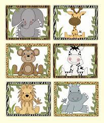 jungle animals wall art prints baby boy safari zoo nursery decor