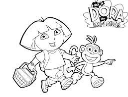 Boots And Dora Printable Coloring Pages Cartoon Coloring Pages Of