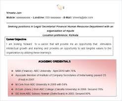 Mba Finance Resume Sample Company Secretary Cum Finance Resume Mba