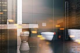 Modern Bathroom Design Pictures Impressive Side View Of A Modern Bathroom With Black Walls A Sink A Toilet
