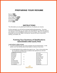 Resume Worksheet Program Format