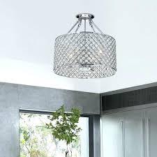 drum light chandelier 4 round semi flush mount crystal chrome finish large lamp shade diy