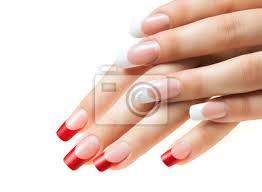 Nálepka Ruce Děvčat ženská Manikúra červené A Bílé Nehty